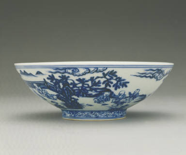 Bowl with underglaze-blue illustration of children playing in a garden