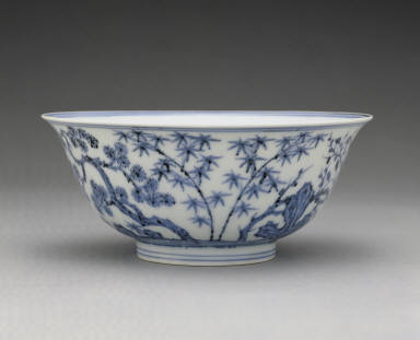Bowl with underglaze-blue decoration of pine, bamboo, and plum