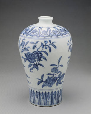 Covered vase with design of flowers and fruits in underglaze blue(unmarked)