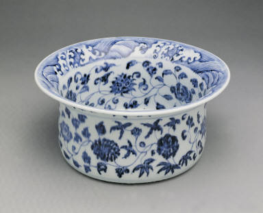 Basin with design of flowers in underglaze blue(unmarked)