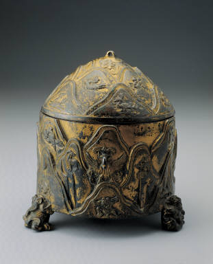 Gilt animal-footed Zun with landscape scenes