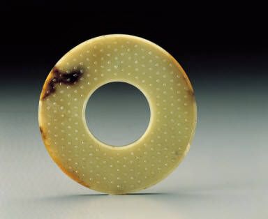 Jade inscribed disc with grain patterns
