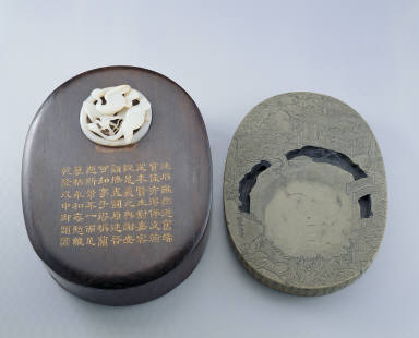 Inkstone with landscape of the Orchid Pavilion, Yao River stone and Jade adornment with spring scene