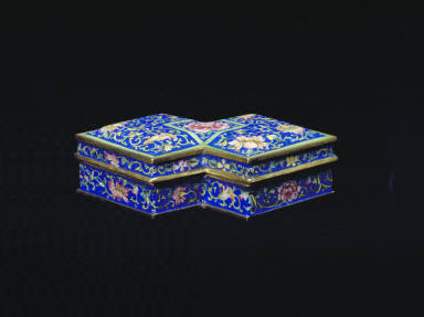 Joined square boxes of painted enamel