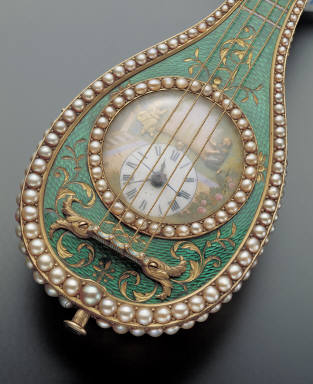Champleve pocket watch in the shape of dombira