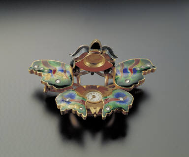 Champleve brooch-watch in the shape of butterfly inlaid with jewels
