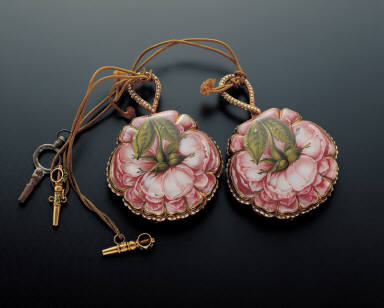 Pair of pocket watches with painted enameled roses decoration