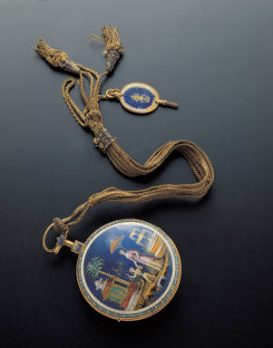 Pocket watch with painted enameled figures decoration